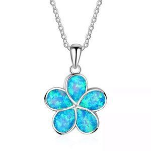 Sterling Silver Blue Opal Flower Necklace